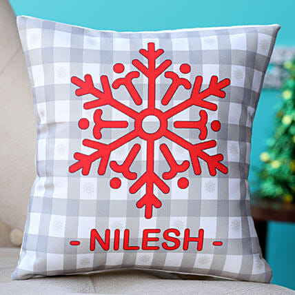 Personalised Snow Flake Cushion Hand Delivery