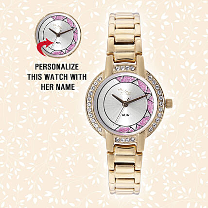 Personalised Sparkling Golden Watch:Send Personalised Watches