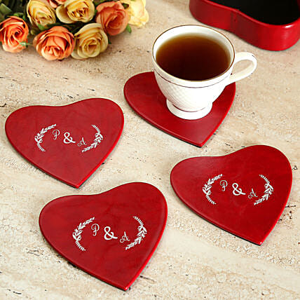 Heart-shaped Customize Set of Coaster