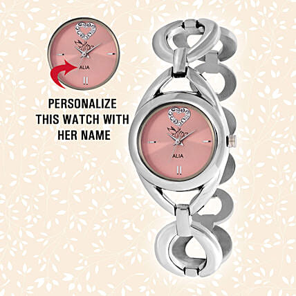 Personalised Steel Silver & Pink Watch:Send Personalised Watches