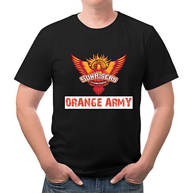 Personalised Sunrisers Hyderabad Black TShirt
