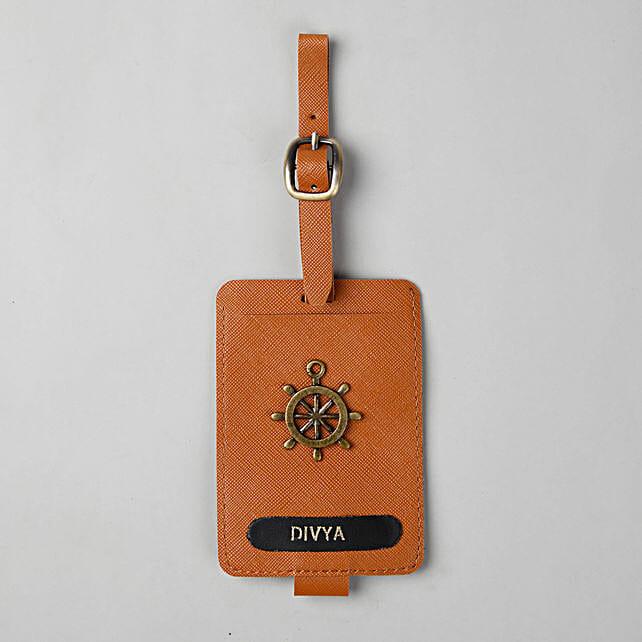 Personalised Tan Brown Luggage Tag