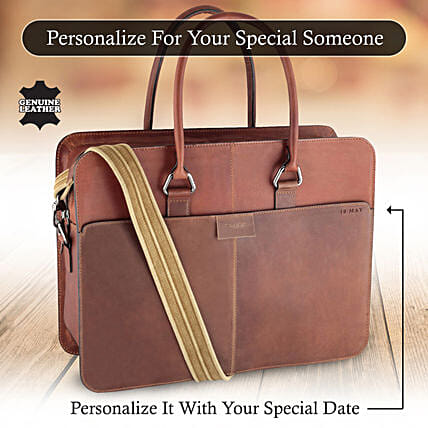 Customised Name Tan Bag For Him:Personalised Leather Gifts