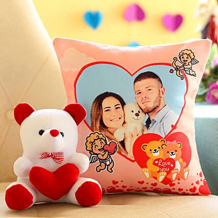 personalised cushion with soft toy for her in valentines day