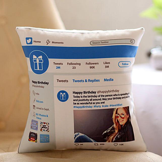 Twitter Theme Birthday Cushion Online:Cushions for birthday