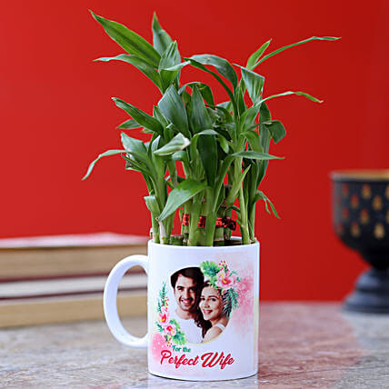 customised mug with lucky bamboo for wife