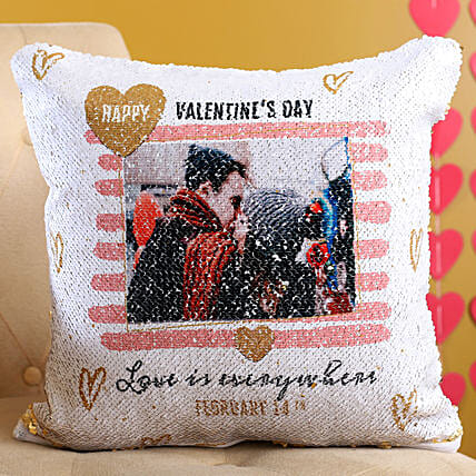 Customised Sequin Love Cushion