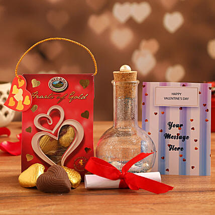 online personalised love message bottle n valentines chocolate:Send Handmade Chocolates