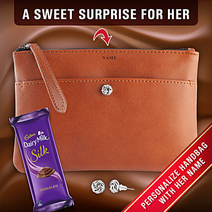 Personalised Wallet With Earrings Chocolate