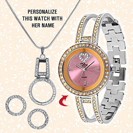 Personalised Watch & Elegant Pendant Set