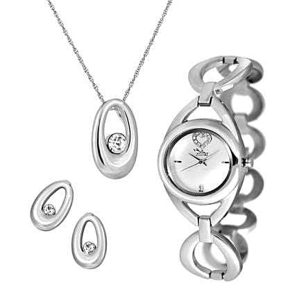 Personalised Watch With Pendant & Earrings Set