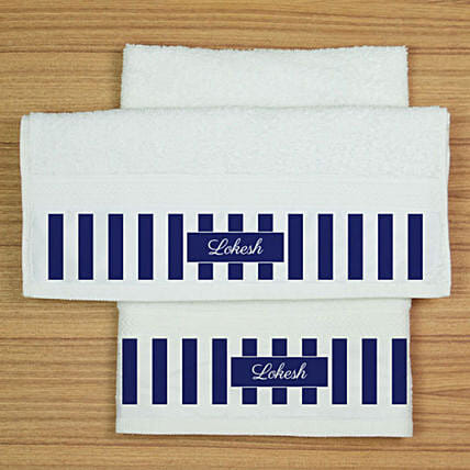 Personalised White Cotton Towel Set