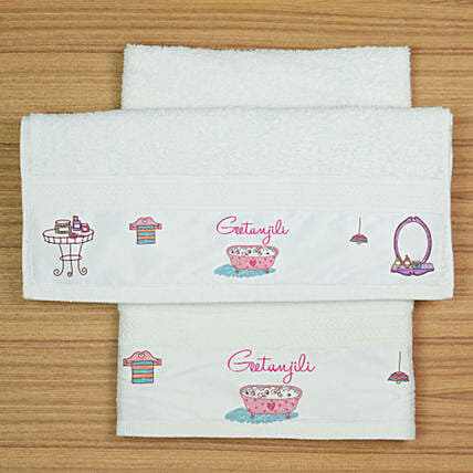 Personalised White Hand Towel Set