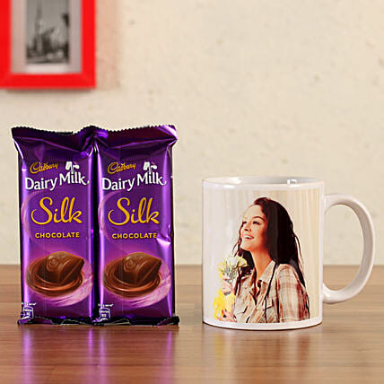 personalised coffee mug with chocolate combo