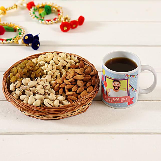 Personalised White Mug & Dry Fruits Basket