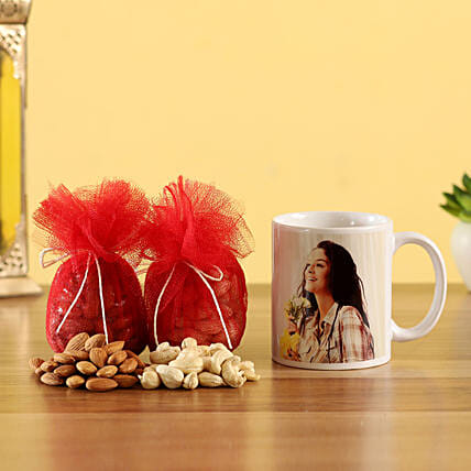 Personalised White Mug With Almonds & Cashew Nuts