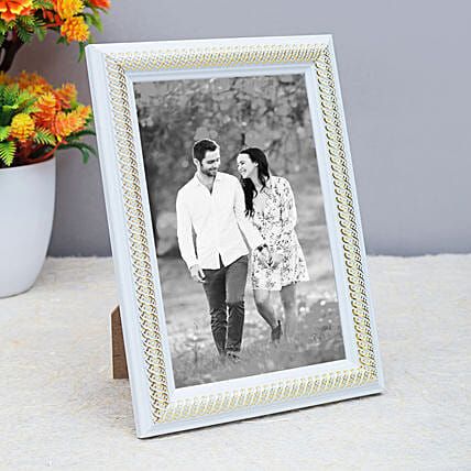 Personalised White Toned Table Top Photo Frame