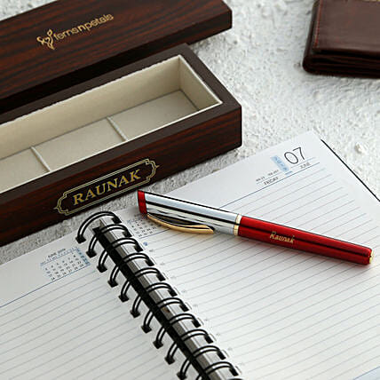 Personalised Wooden Pen Box And Roller Ball Pen:Personalised Pens