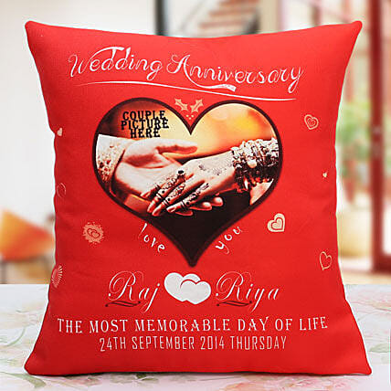 Another Milestone Personalized Cushion:Anniversary Cushions