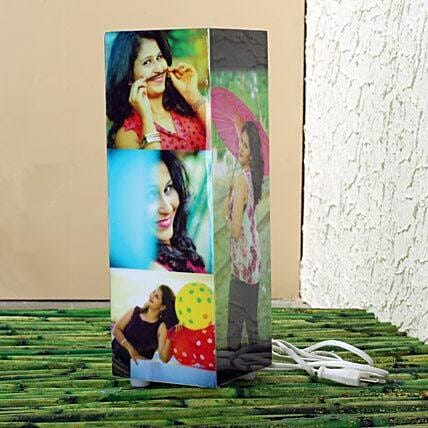 Personalized pillar shaped lamp