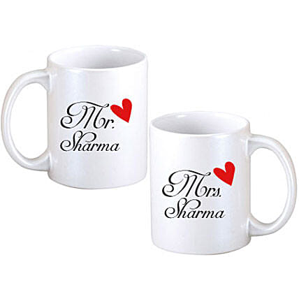 Couple Mugs-Two White Couple Mugs,personalized text,red heart image:Personalised Mugs for Wedding