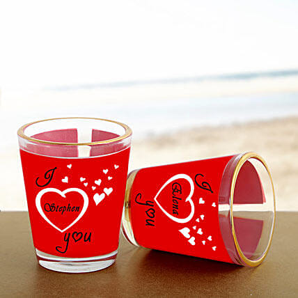 Personalized Couple Shot Glass:Send Gifts to Jalpaiguri