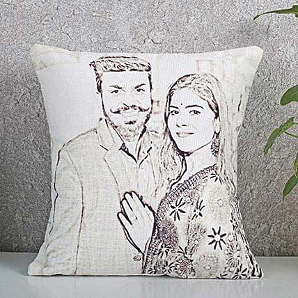 Customised couple sketch cushion:Caricatures