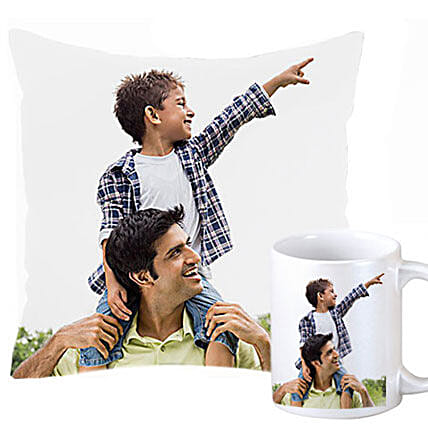 Personalized Cushion and Mug For Dad-1 Pesonalized Cushion 12X12 inches,1 White Coffee Mug with pictures