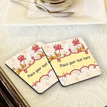Floral Coasters-Peach floral background coasters,4 size 3.8x3.8 personalized coasters:Coasters Gifts