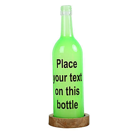 Personalized Lamp-green coloured personalized bottle lamp with message:Gifts to Jalpaiguri