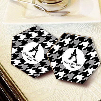 Personalized Letter Coasters-Black personalized coasters set of 4 size 3.3x3.3:Coasters Gifts