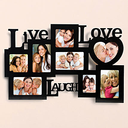 Lovable Frames-Live love laugh wall 24x15 personalized photo frame:Anniversary Photo Frames