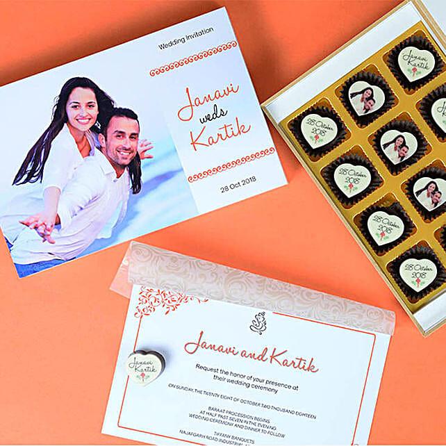 Couple Wedding Invitation & Chocolates