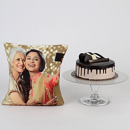 Online Chocolate Cake with Cushion Combo For Mom:Cakes N Personalised Gifts
