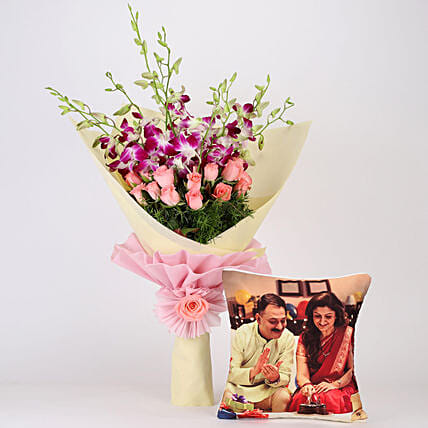 Orchids and Roses with Cushion Online