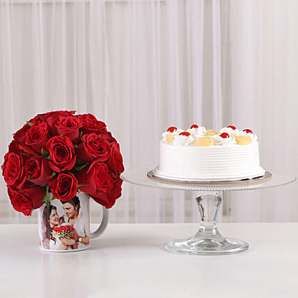 sweet celebration with pineapple cake n 20 roses in printed mug