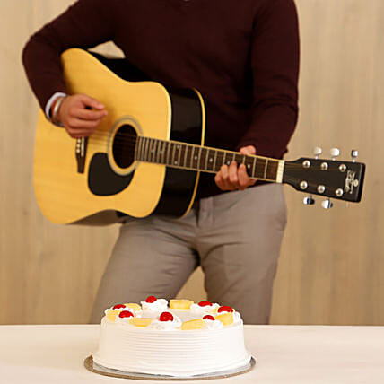 Pineapple Cake & Melodious Tunes Combo:Gifts N Guitarist Service