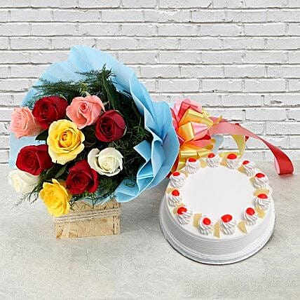 Pineapple Cake with Roses - 500 grams of pineapple cake and bunch of 10 mix colour roses.:Unique Client Gift Ideas