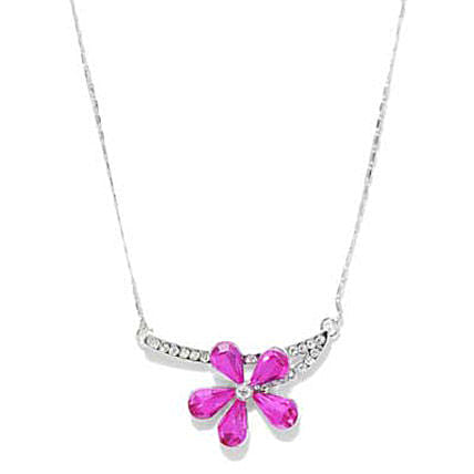 Pink and Silver Toned Flower Necklace-Pink and Silver Toned Flower Necklace