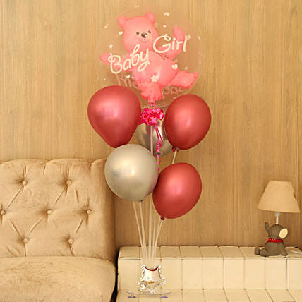 Bunch of Pink Balloons:New Born Baby Gifts