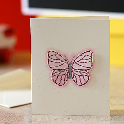 Pink Butterfly Greeting Card:Greeting Cards