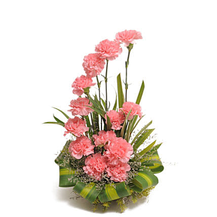 Bright Blush - Basket arrangement of 15 Pink carnations flowers womens day women day woman day women's day:Gifts for Sagittarians