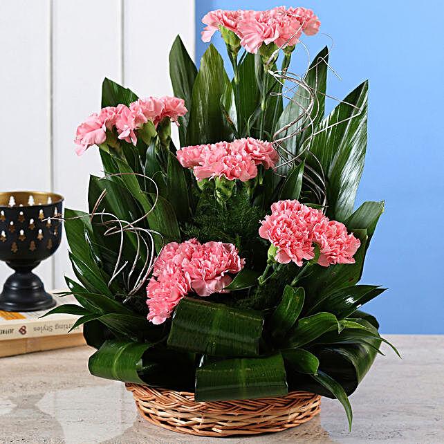Pink Carnations Cane Basket Online
