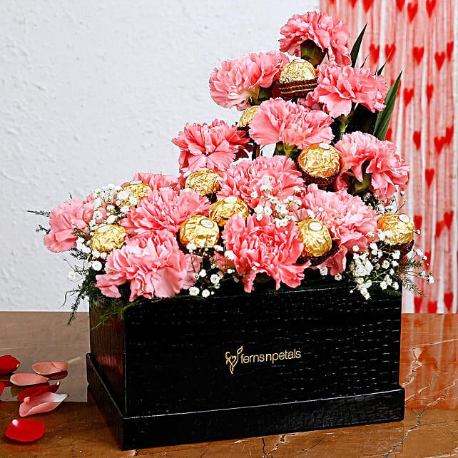 Pink Carnations Ferrero Rocher Arrangement In FNP Box:Valentines Day Carnations