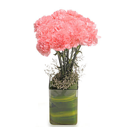 Pink Carnival - Bunch of 10 pink carnations in a glass vase.