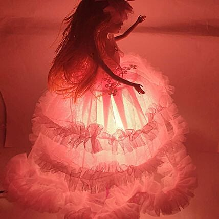 Pink Doll Lamp for Girls Room