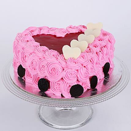 Pink Flower Heart Cake 1kg:Rose Cake