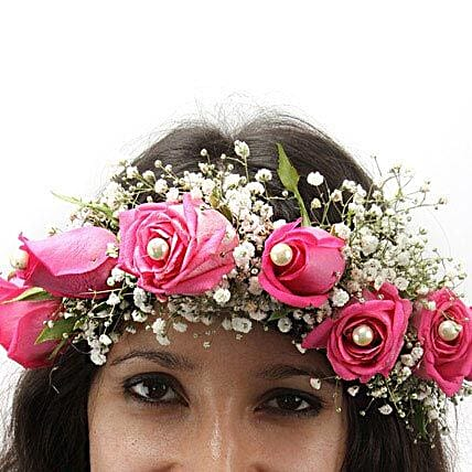 A floral tiara of pink roses and gypsophila:Buy Floral Jewelery