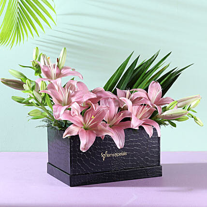 lilies flower in designer box arrangement