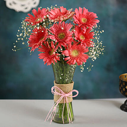 Pink Marvel Gerbera Vase:Womens Day Flowers
